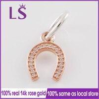 LS 100 S925 Silver 14k Rose Gold Symbol Of Luck Dangle Charm Fit Original Bracelets Pulseira