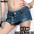 2016 женщин летняя женщина джинсовые бурлящие штаны женские сексуальные джинсы, шорты с попой леди пара панк горячие топы femme микро мини шорты