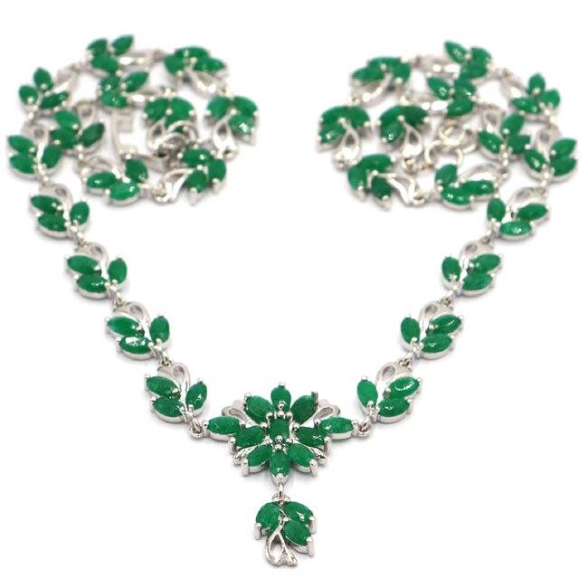 Fantastique véritable vert émeraude femme fête argent collier 17.5-18.5in