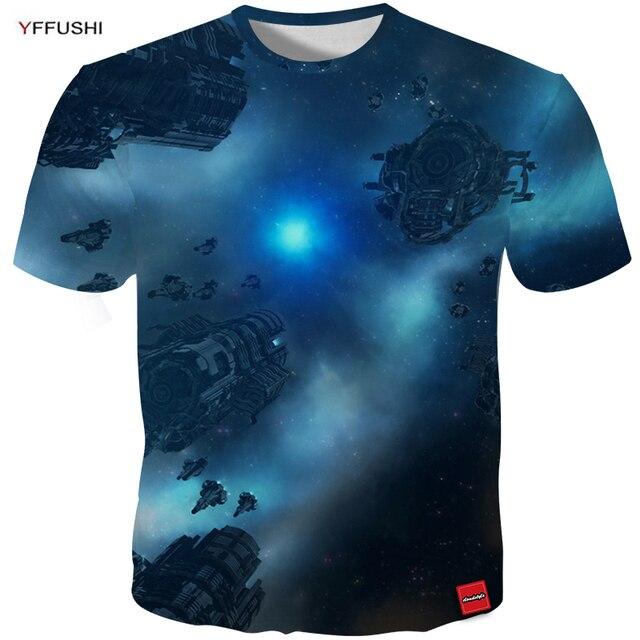 779e9594 YFFUSHI New Design 3d Clothing Men tshirt Unique Space Ship Print Under  Undercurrent Surging Sky Hip Hop Tee Cool Tops In Summer