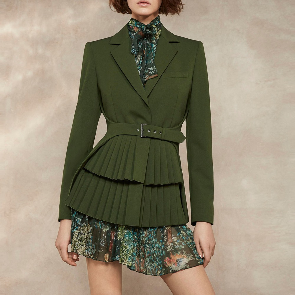 HIgh Quality Pleated Blazer + Printed Pleate Dress Two Pieces Female Long Sleeve Green Color Outwear With Belt Wq1424 Dropship