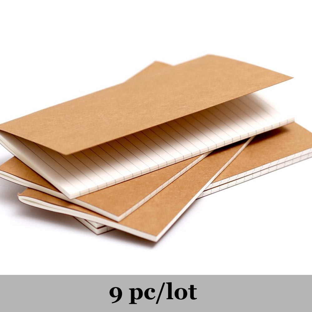 9pcs/lot Refillable Paper Traveler's Notebook Filler Papers Journal Dairy Inserts Refill Paper Leather Notebook Pack Office