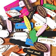Смешанные 50 шт. деревянная пуговица «ручная работа» метки деревянные Швейные аксессуары для одежды ручной работы Скрапбукинг Ремесло DIY одежды