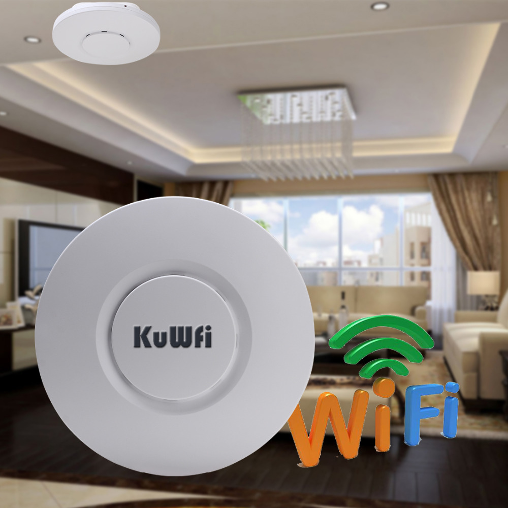 2.4Ghz 300Mbps Wifi Repeater Router Wireless Ceiling AP Wifi Router Indoor AP 24V POE Adapter for Lliving Room Hotel Restaurant