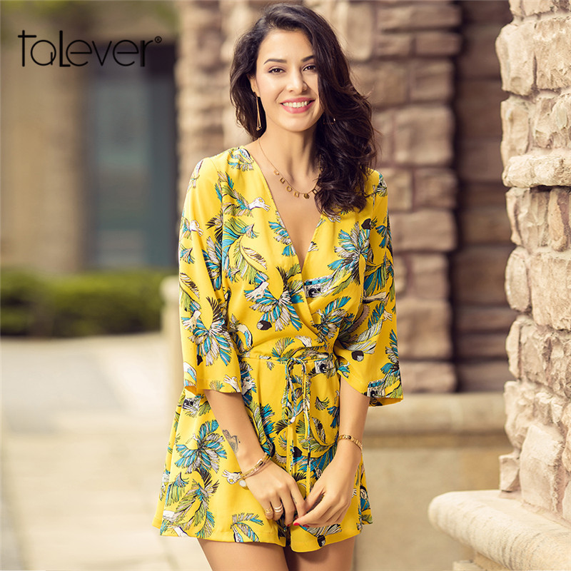 Talever 2018 Summer Short Jumpsuit Fashion Sexy Printed Rompers Female Casual Loose Yellow Ladies Beach Rompers Jumpsuits