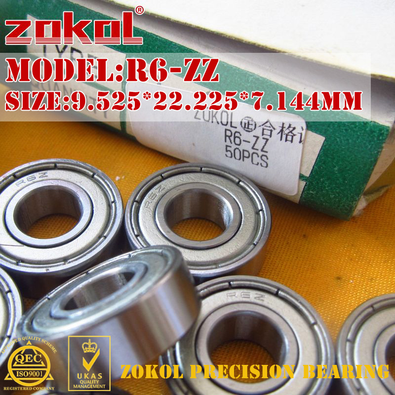 ZOKOL R6 ZZ 2RS Z1 Bearing R6-ZZ R6-2RS Miniature  Deep Groove Ball Bearing 9.525*22.225*7.144mm