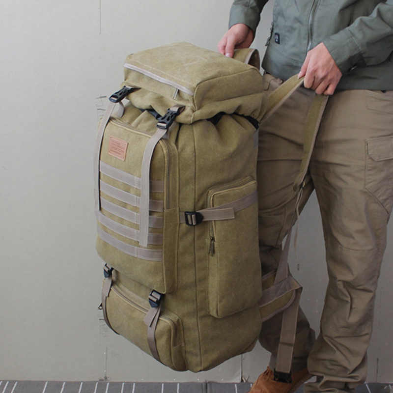 4132841fa ... 60L Large Military Bag Canvas Backpack Tactical Bags Camping Hiking  Rucksack Army Mochila Tactica Travel Molle ...