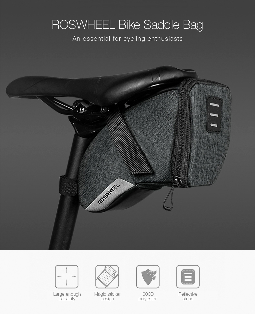 21ebfc3b4e7 ROSWHEEL Mtb Saddle Bag Waterproof Rainproof Seat Pack Cycling Bicycle  Saddle Bag Shockproof Rear Seatpost Bags Tail Pouch