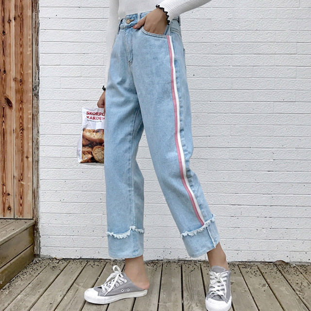 2018 Women Jeans Cotton Striped Straight Leg Denim Jeans Harajuku Boyfriend Style Loose Jeans Fashion Cuffs Pleated Jeans #A026