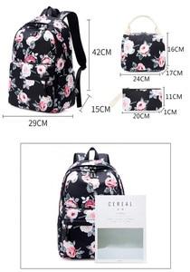 Image 5 - Sac à dos résistant pour femmes, ensemble léger et imprimé de fleurs, cartable pour adolescentes, sacoche pour ordinateur portable