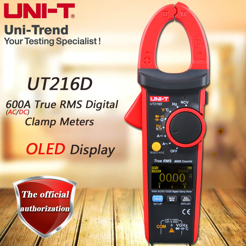 UNI-T UT216D AC/DC 600A True RMS Digital Clamp Meter/Relative Measurement/Temperature Test/Frequency Measurement/VFC/NCV ulyde uni t ut202a ac clamp meter 600a