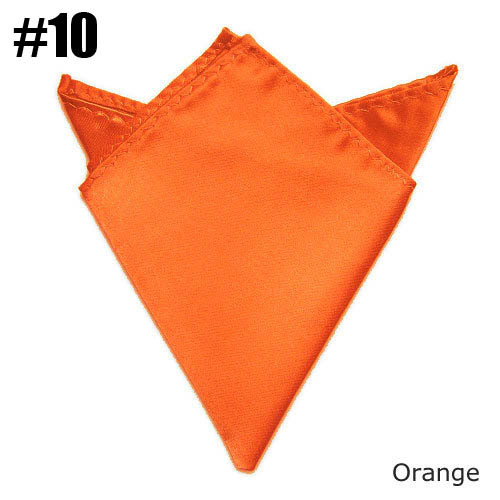 Fashion Mens Solid Pocket Square Orange Towel Wedding Satin Handkerchief Match Suit Free Shipping 24 Colors For Choose