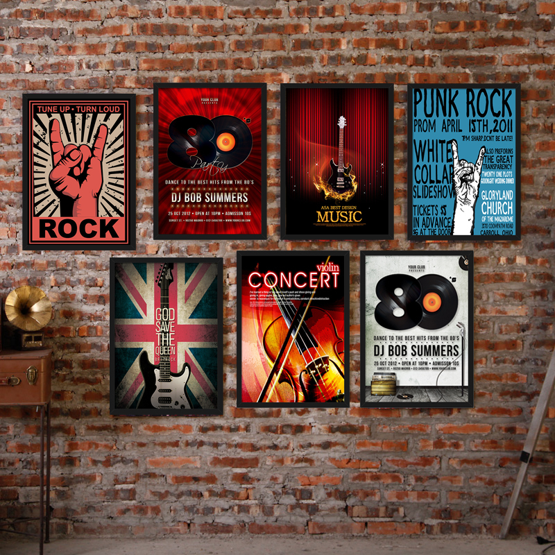 Nordic Retro Music Bar Canvas Painting Guitar Rock Poster Record Violin Wall Picture No Frame Cafe Living Room Mural Decoration