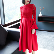 Gothic dress 2018 Spring 1719407 Temperament Women Slim Lace Lotus Sleeves Chinese Style Red Wedding Back Door flower dress