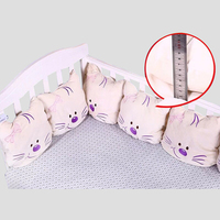 Baby Bed Bumper Bedding Set Cotton Cute Cat Embroidered Design Flexible Combination Baby Bumper Crib Protector Infant Cushion