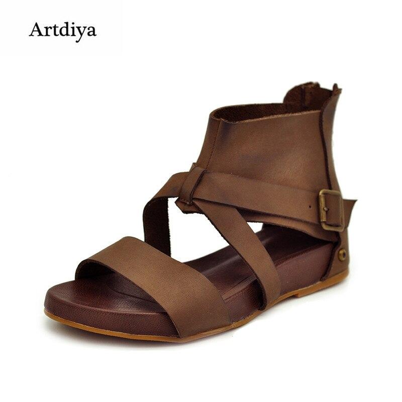 Sandalias de cuero genuino hechas a mano vintage casual sandalias planas gladiador primera capa de sandalias de piel de vaca envío libre 1085-2