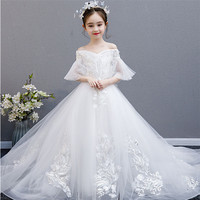High Grade Children Girls Pure White Color Evening Wedding Party Ceremony Princess Long Tail Dress Kid Piano Communication Dress