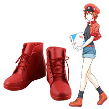 New Cells at Work! Erythrocite Red Blood Cell Cosplay Boots Anime Shoes Custom Made стоимость
