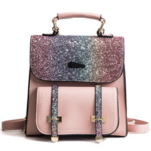 New Famous Design Zipper Opening Office Ladies Bag Casual Sequins Double Shoulder Bags Simple preppy College Style Backpack