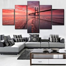 Vasco da Gama Bridge And Landscape Sunset Tagus River Painting Modern On Canvas Print Type 5 Panel Modular Art Style Wall Decor