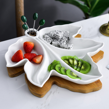 Creative Ceramics Leaf Snack Plate Decorative Bamboo Epergne Fruit Serving Tray Candy Dinnerware Fries Afternoon Tea Supplies