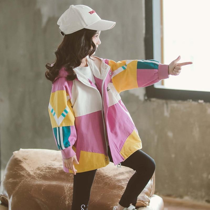 Куртки для девочек, пальто с капюшоном, Ветровка для девочек, Размер 8 10 12, Детская верхняя одежда, пальто для осени 2020 Куртки и пальто    АлиЭкспресс