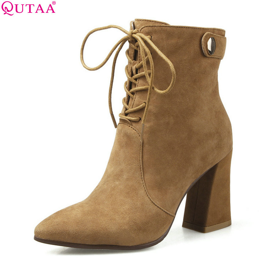 QUTAA 2019 Women Ankle Boots Platform All Match Winter Shoes Lace Up Square High Heel Cow Suede Women Ankle Boots Big Size 34-39 цена