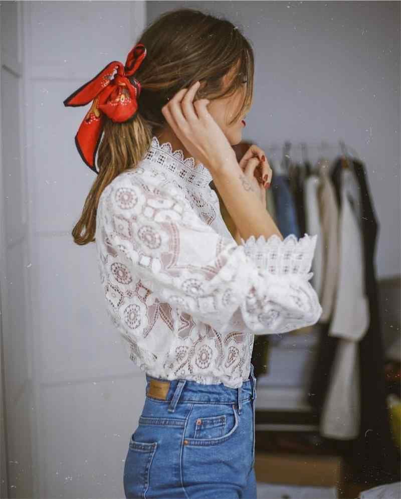 Biała koronkowa bluzka koszula letnie koszule 2019 kobiet popy i bluzki kwiatowy Packwork latarnia rękaw koszule damskie Chic topy Femme