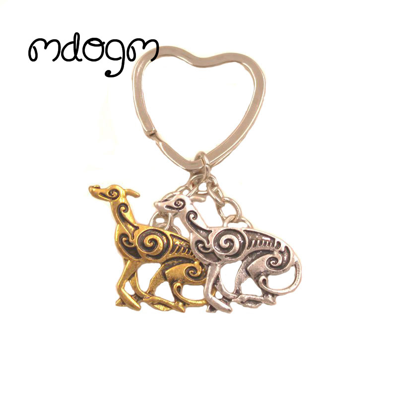 2018 New Cute Greyhound Dog Animal Gold Silver Plated Metal Pendant Keychain For Bag Car Women Men Key Ring Love Jewelry K138