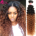 Peruvian Kinky Curly Virgin Hair Ombre 4 Bundles Lot Short Kinky Curly Crochet Hair Weave Top Hair Extensions Brown Bundle Deals
