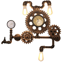 Vintage Loft Style Edison Clock Wall Lamps Sconce Industrial Lighting Retro Wood Gear Wall Lighst Fixtures Iron Water Pipe Lamps iwhd loft style water pipe lamp industrial edison wall sconce antique iron vintage wall light fixtures home lighting lampara