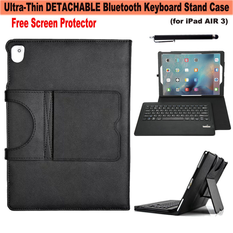 Magnetically Removable Wireless Bluetooth Keyboard kickstand Flip Folio PU Leather Case Smart Cover for Apple iPad Pro 9.7