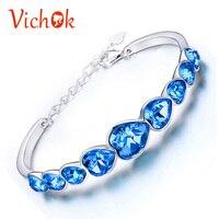 VICHOK Silver 925 Sterling Bracelet Tennis Heart Real Chain Adjustable Party Charm Bracelets Blue Color For Female Women