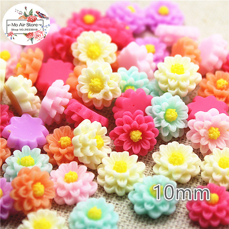 100pcs 10mm Mixed Color Flower Daisy Resin Flatback Cabochon DIY Jewelry Phone Decoration No Hole