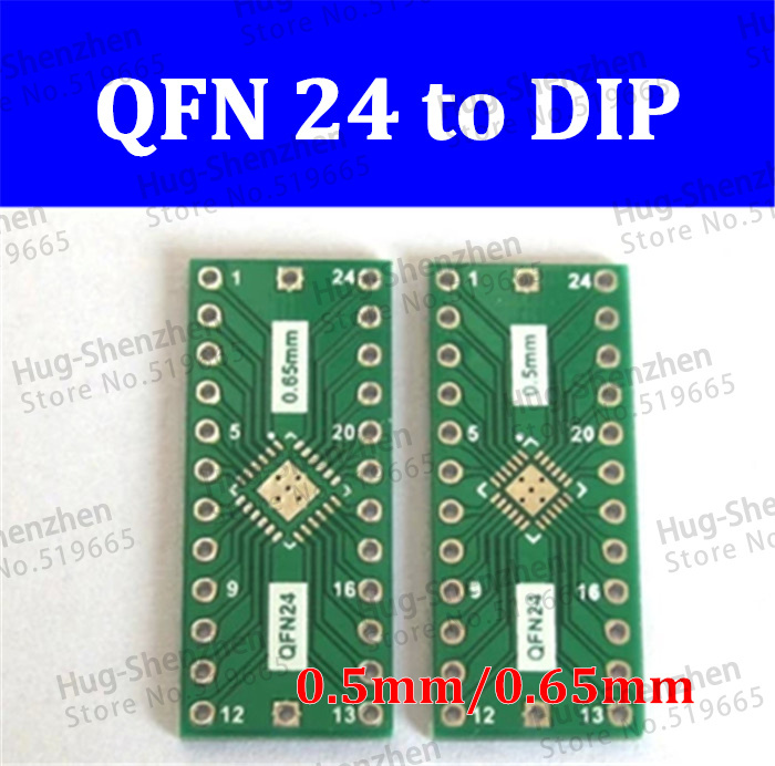 High Quality 10pcs/lot QFN24 To DIP24 Adapter PIN Pitch 0.5 0.65mm PCB Board Converter /DIP Converter