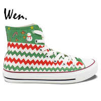 Wen Original Design Custom Hand Painted Shoes Christmas Green Pattern High Top Canvas Sneakers for Men Women's Christmas Gifts