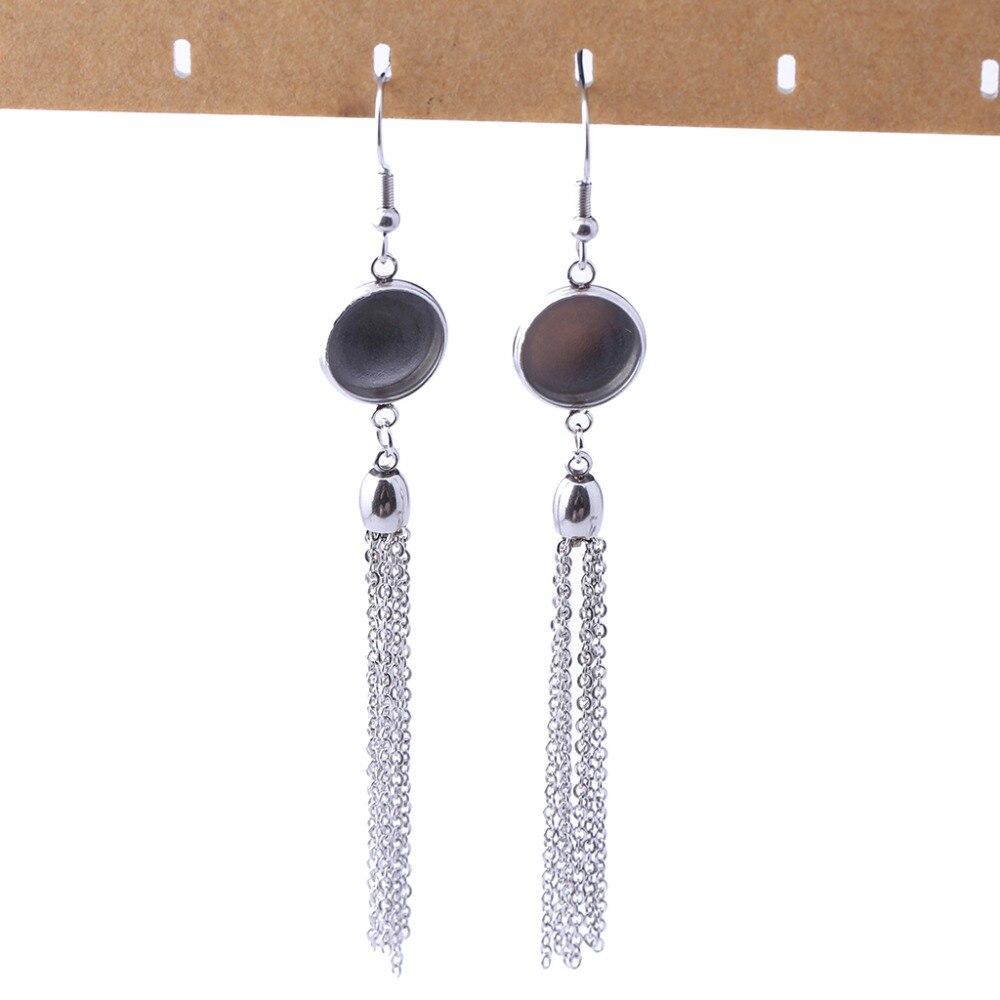 Onwear 1 Pair Stainless Steel Tassel Earring Base 12mm Blank Cabochon Settings Diy Jewelry Bezel For Earrings Making