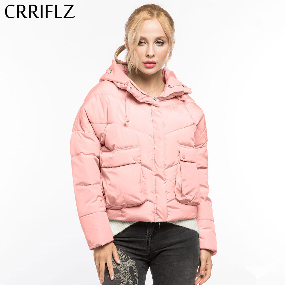 CRRIFLZ New Autumn Winter Collection Winter   Basic     Jacket   Women Plus Size Parkas Female Hooded Causal Solid Big Pocket Woman Coat