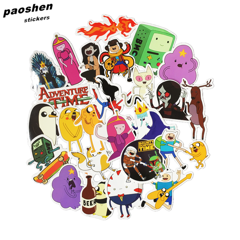 25pcs Adventure Time Cartoon Pvc Waterproof Sticker For Luggage Wall Car Laptop Bicycle Motorcycle Notebook Laptop Toys Stickers vintage lady beauty luggage skateboard stickers pvc waterproof sunscreen car stickers 5 12cm laptop stickers
