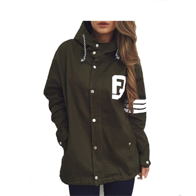 Fashion Institute of 2017 new female leisure fashion and personality wind letter printing hooded dovetail design trench coat