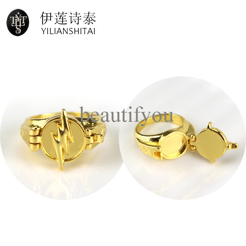 Superhero The Flash Ring With Gold Flash DC Comics Ring Jewelry Can Open Cover Lightning Logo Gold Rings Gift For Fans Wholesale