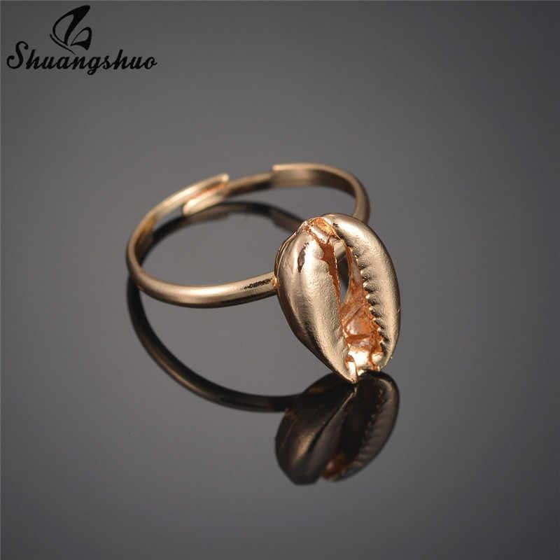 Shuangshuo สาวแหวนปรับแหวนใหม่แฟชั่น One นิ้วมือแหวน Boho Seashell สง่างามแหวนสำหรับสตรี