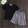 2016 Summer Brand homewear Men's Casual Pajamas sets O-neck shirt & Plaid half pants Male Cotton sleepwear suit Men Home clothes