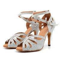 New Golden/Silver Shoes For Ballroom Dancing Woman Flash Cloth Collocation Shine Rhinestone Latin Dance Shoes Women's
