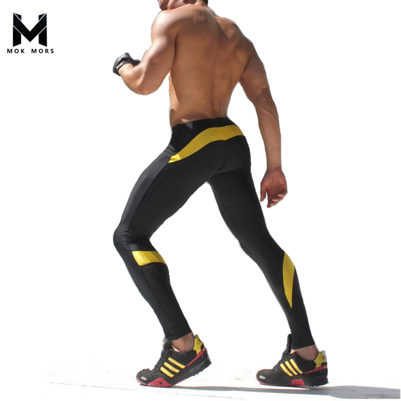Mens Compression Pants sweatpants Slim Tights Splicing Fashion Pants bodybuilding Men Joggers Skinny Leggings Trousers M-XXL