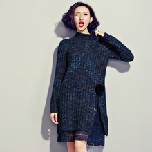 [XITAO] 2016 Women's long loose form straight form solid color fake two pieces O-neck full sleeve knitted casual dress SHB-041