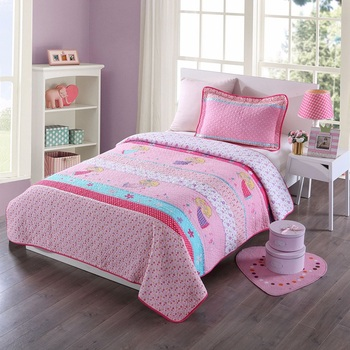 Soft Kids Bedspread Quilt Set 2pcs Coverlet Flowers Applique Quilts Embroidered Bed Covers Twin Size Girls Bedding Blanket