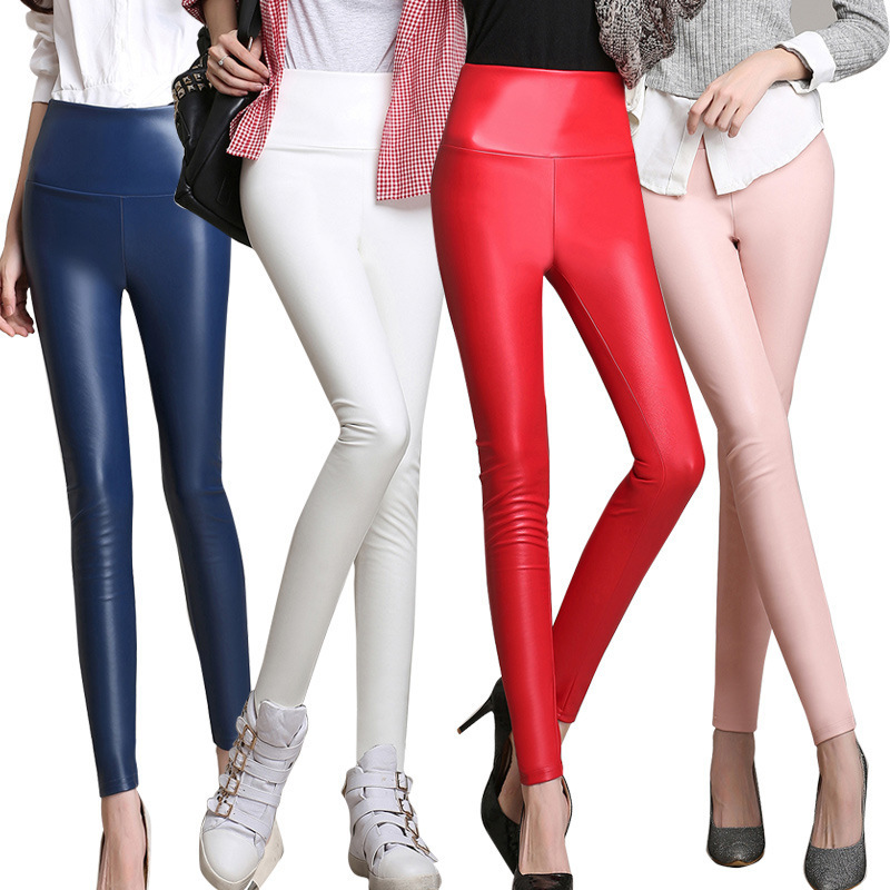 New Women Velvet Faux Leather High Waist Skinny PU Pants Candy Color Plus Size S-4XL PU Trousers Winter Thicken Leggings S2874