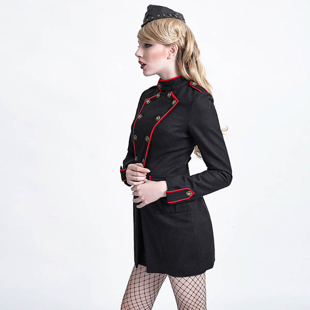 d5b1720607b placeholder Steampunk Military Uniform Long Coats for Women Sexy Army  Cosplay Clothing Jackets with Star Decorated Black