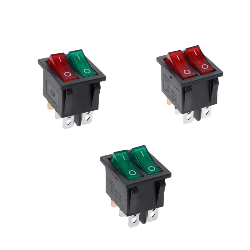 Dual Boat Rocker Switch 6 Pin On-Off With Green Red Light 20A 125V AC g126y 2pcs red led light 25 31mm spst 4pin on off boat rocker switch 16a 250v 20a 125v car dashboard home high quality cheaper